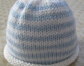 Knitted Blue & White Striped Beanie Hat