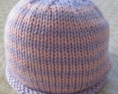 Lavender & Pink Striped Beanie Hat