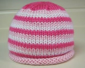 Hot Pink/Light Pink/White Striped Baby Beanie Hat