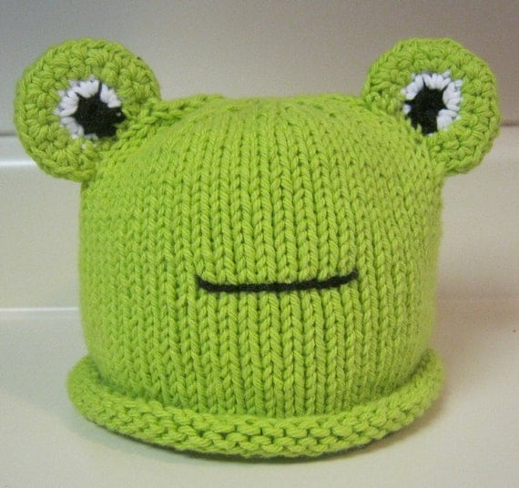 Knitting Pattern For Frog Hat : Hand Knitted Frog Hat Lime Green