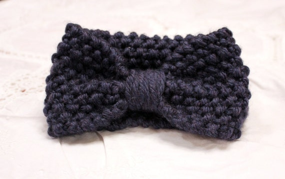 navy blue warm knit headband earwarmer