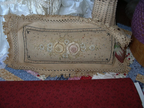 Vintage Hand  Embroidered Cover Pin Cushion