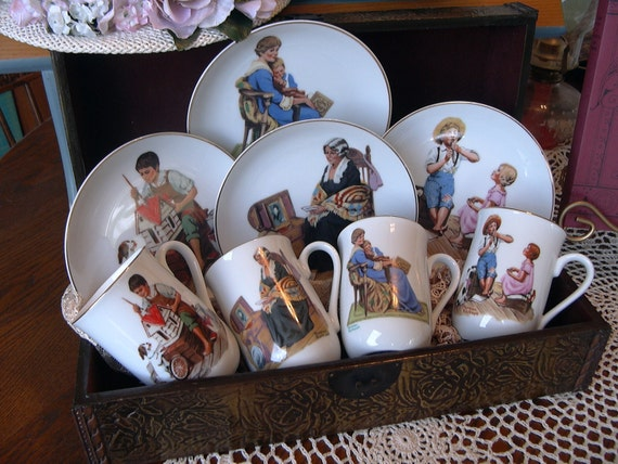 """Norman Rockwell's """"Classics"""" 1984 Collection of Plates and Matching Mugs"""