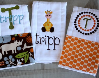 Personalized baby boy burp cloths - safari giraffe