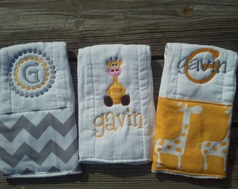Personalized baby boy burp cloths - safari giraffe, baby gift