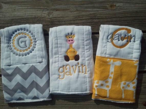 Personalized baby boy burp cloths - safari giraffe