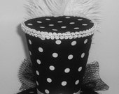 Black and White Polka Dots  Mini Top Hat Fascinator Burlesque Pin-Up Lolita Pageant Costume Tea Party Steampunk