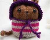 Hand Knitted Brown Kitty Cat with Silver and Bright Pink stripes & Purple hood - Amigurumi Knitty Kin