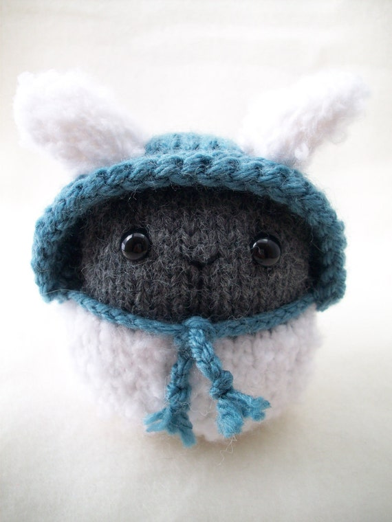 Hand Knitted White Fuzzy Lamb with Grey face and Light Blue hood - Amigurumi Knitty Kin