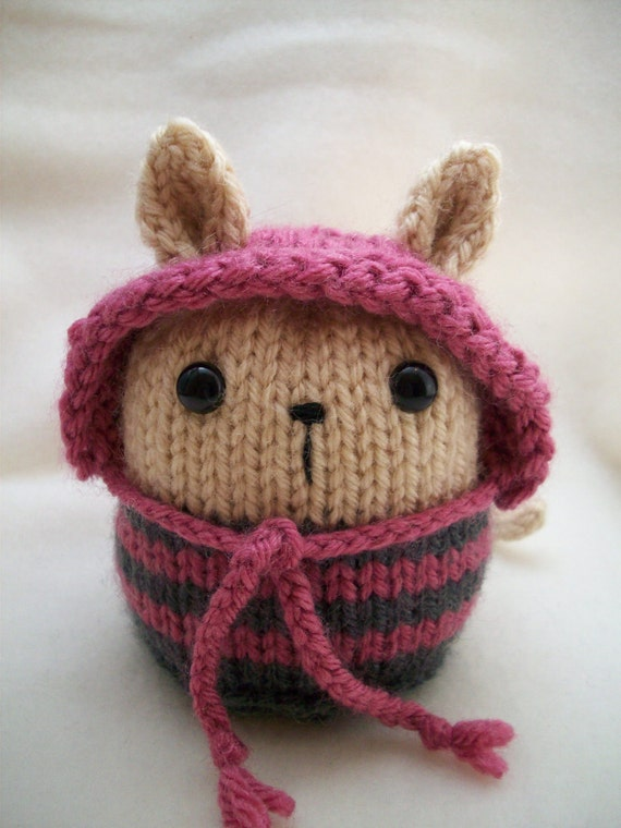 Hand Knitted Amigurumi Beige Kitty Cat with Rose and Blue Grey stripes and Rose hood - Knitty Kin