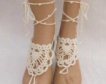 Cream Barefoot Sandals-Hand Crochet Sandals-footless sandals-Beach Jewelry-Pineapple Barefoot Sandals-Ready to Ship