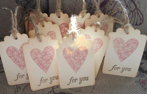 Wedding wish tree tags, gift favors, romantic love heart hand stamped 'for you', tied with twine, set of 10.