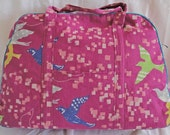 Purple Echino birds weekend bag or gym bag