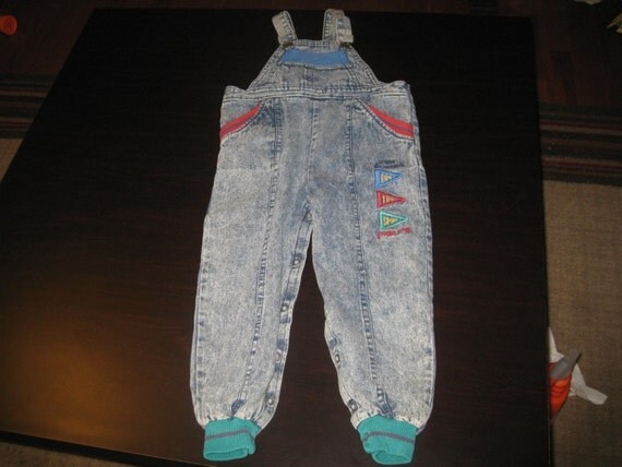 Size 4T Buster Bornw Denim Coveralls Vintage