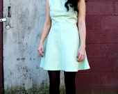 Vintage Mod Green & White Gingham Dress S 1960's
