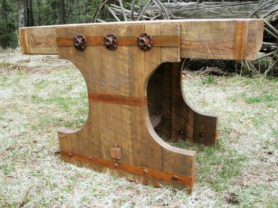 Rustic Reclaimed Industrial Console Table