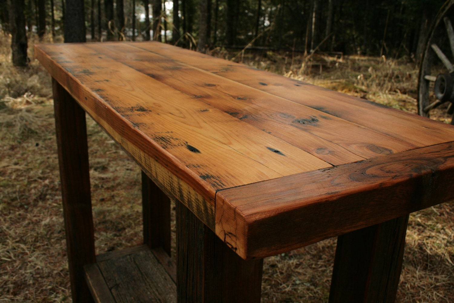 rustic reclaimed barnwood sofa table
