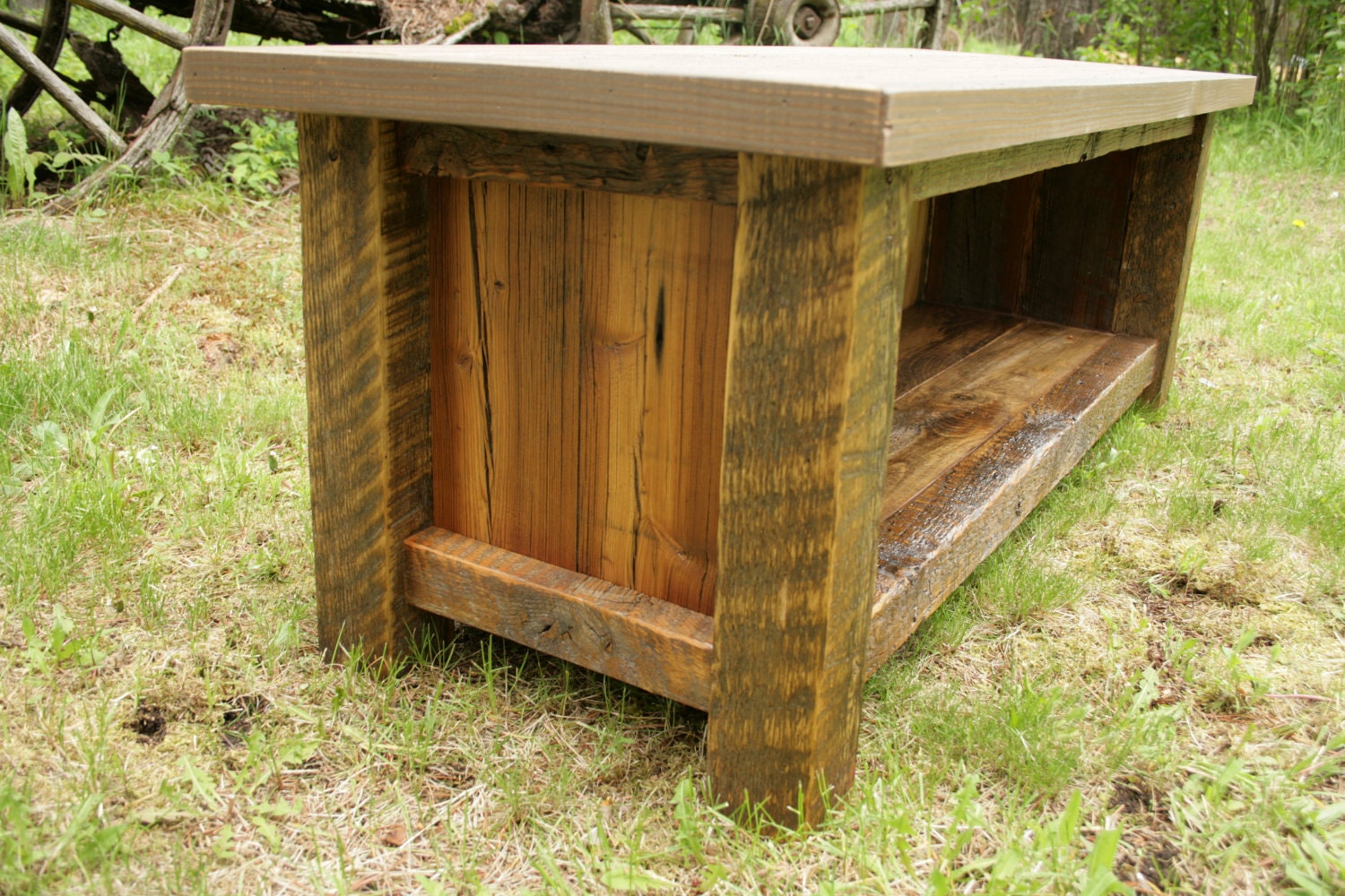 Rustic reclaimed barnwood entry bench by echopeakdesign on