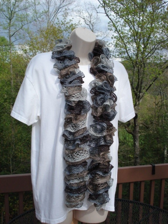 Knitted Ruffle Scarf Sashay Fashion in Shades of Brown, Tan, and Grey with Layers of Lace and Metallic Shimmering Thread