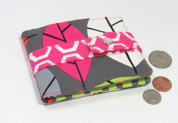 Small wallet, pink, orange, lime green, coin purse