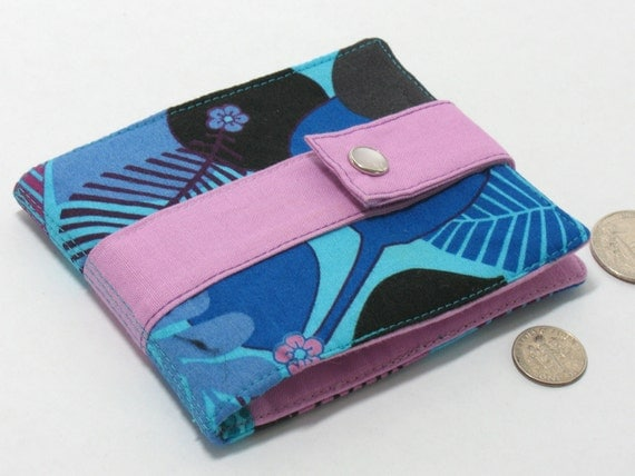 Blue and lavender wallet, small coin purse, card holder