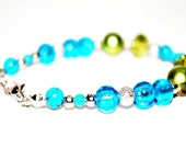 Spring is here - Olive green Faceted Crystals, Lime green Acrylic, Sky Blue Foil Glass, Stardust, Turquoise  beaded bracelet