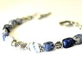 Sodalite Bracelet - Denim Blue Gemstone Bracelet, Semi-Precious Stone, Navy Blue Bracelet