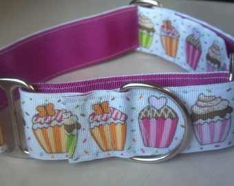 "Cupcakes For the Birthday Girl 1.5"" Martingale Collar"