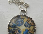Doctor Who TARDIS Necklace, Van Gogh style