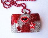 SALE Makeup Addict (Glitter Resin Pendant Necklace)