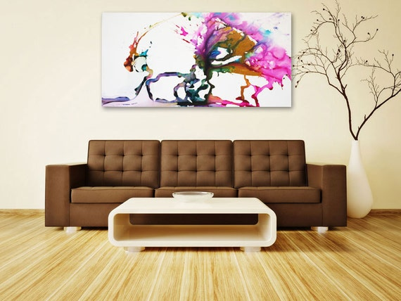 """Contemporary Art 30""""x60"""" Ready to hang in minutes - modern art"""