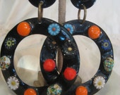 Cloisonne Vintage Hoop Earring with Mosaic glass.