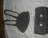 Crochet rabbit hat and diaper cover