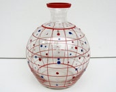 VINTAGE HAND PAINTED Clear Glass Vase / Globe / Orb / Red / Blue / Checker Pattern