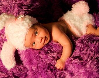 Baby Bunny Hat and Diaper Cover Crochet Set-Perfect for Newborn Photo Prop