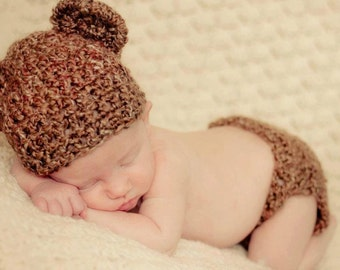 Teddy Bear Diaper Cover & Hat, Crochet hat, Photo prop, diaper cover