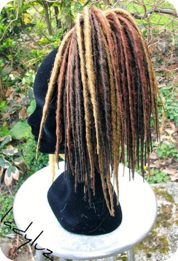 READY TO SHIP 40 dreads short differently brown.
