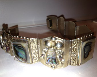 Vintage Mexican Silver and Abalone Hinged Bracelet 8 panels