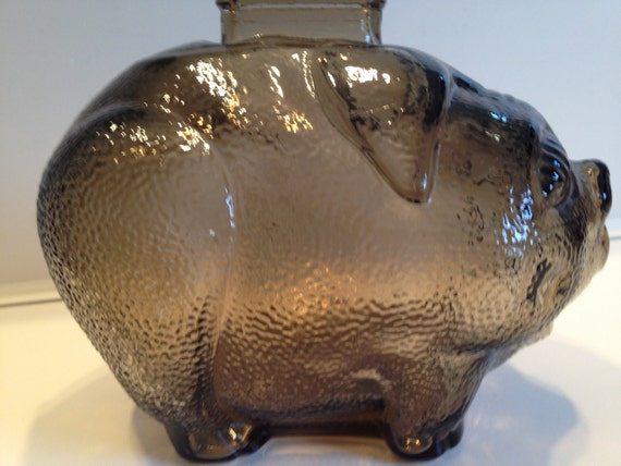 Anchor Hocking Glass coin bank 1960s