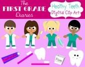 Healthy Teeth Dental Digital Clip Art --Buy 2, Get 1 FREE