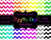 Ziggity Zags Chevron Digital Paper Bright Colors Rainbow  --BUY 2, GET 1 FREE