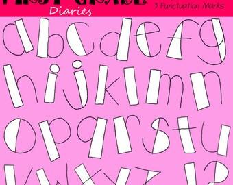 Cute Little Letters Digital Alphabet Line Art --BUY 2, GET 1 FREE