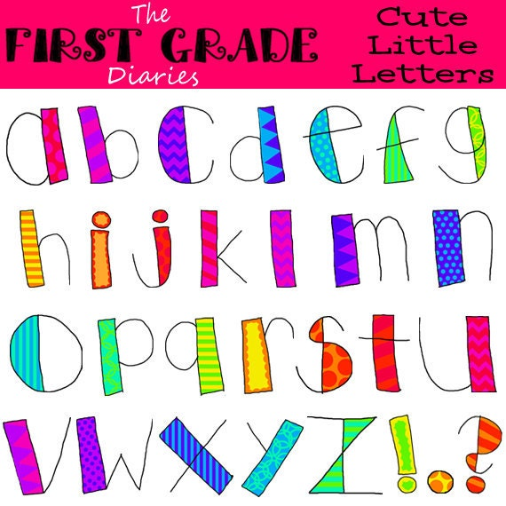 Cute Little Letters Digital Alphabet Clip Art --BUY 2, GET 1 FREE