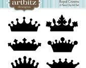 Royal Crowns, Set of 6, No. 20005 Heraldry Clip Art Kit, 300 dpi .jpg and .png, Instant Download!