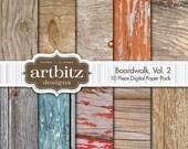 "Boardwalk, Vol. 2, 10 Piece Wood Texture Digital Scrapbooking Paper Pack, 12""x12"", 300 dpi .jpg, Instant Download!"