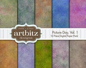 "Picture Day, Vol. 1, 10 Piece Photo Background Digital Scrapbooking Paper Pack, 12""x12"", 300 dpi .jpg, Instant Download!"