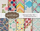 "Sewing Circle, Vol. 1, 10 Piece Quilt Pattern Digital Scrapbooking Paper Pack, 12""x12"", 300 dpi .jpg, Instant Download!"
