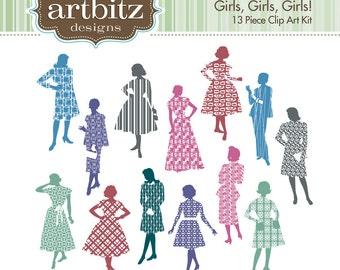 Girls, Girls, Girls No. 06001 Textured 13 Piece Clip Art Kit, 300 dpi .jpg and .png