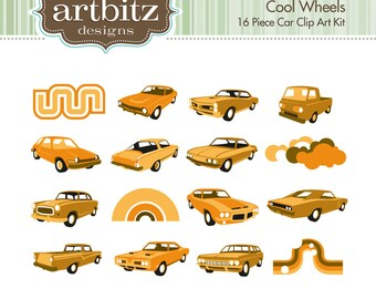 Cool Wheels No. 10001 16 Piece Clip Art Kit, 300 dpi .jpg and .png