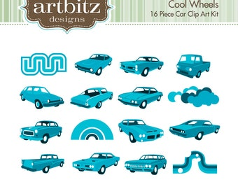 Cool Wheels No. 10003 16 Piece Clip Art Kit, 300 dpi .jpg and .png